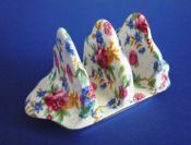 Lovely Grimwades Royal Winton 'Old Cottage Chintz' 3 Bar Toast Rack c1940 (Sold)